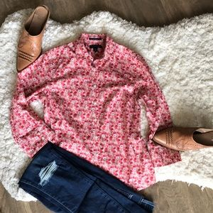 Lands end floral top red pink peach size 2 EUC